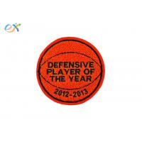 Buy cheap Orange Background Custom Chenille Patches Singles Felt Fabric With Sew On Backing from wholesalers