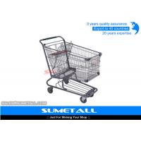Buy cheap Wire Metal Supermarket Shopping Cart / 4 Wheel Shopping Trolley Chrome Plated from wholesalers