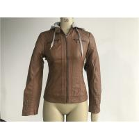 Buy cheap Grey Pu Leather Coat Melange Detachable Hooded Camel Tw74382 from wholesalers