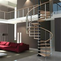 Buy cheap Luxury Wood Tread Stainless Steel Railing Indoor Use Spiral Staircase from wholesalers