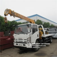 Buy cheap isuzu 4ton hydraulic tow truck winch flatbed break down recovery trucks towing truck with crane from wholesalers