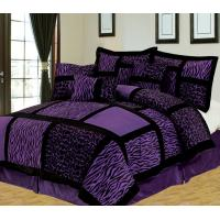 Buy cheap 7 Piece King Safari Purple and Black Patchwork Micro Suede Comforter Set from wholesalers