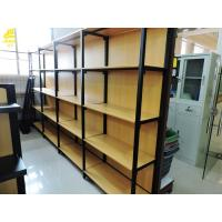Buy cheap Four Columns Metal And Wood Open Shelving, 50kg/ Layer Iron And Wood Shelving Unit from wholesalers