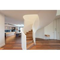 Buy cheap Modern Style Solid Wood Tread Curved Stair with Frameless Glass Railing product