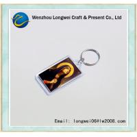 China Custom Clear Plastic Photo Keychain , Printed Paper Insert Acrylic Keychain on sale