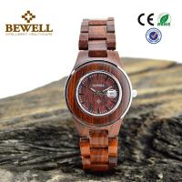 Buy cheap Stainless Steel Bezel And Red Sandal Wooden Wrist Watch Japan Miyota 2115 Movement from wholesalers