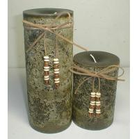 Buy cheap Dark green unscented big paraffin candle tied by hide rope and decor wooden beads decoration from wholesalers