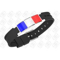 Buy cheap French Flag Stainless Steel Magnetic Bracelets With Germanium from wholesalers