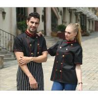 Buy cheap Adult Hotel / Bar Black Chef Uniform With Short Sleeve / Womens Chef Uniforms from wholesalers