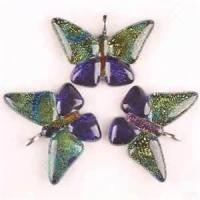 Buy cheap Custom Pretty butterfly coloured foil lampwork / murano glass necklace pendants for Anniversary from wholesalers