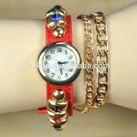 Buy cheap 2015 New Women Girls Ladies Graceful Lovely Metal Punk Chain Bracelet Watch Artificial Leather Quart Wristwatches from wholesalers