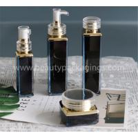 Buy cheap Gold Plating Acrylic Square Essence Lotion Bottle And Face Cream Jar Set from wholesalers