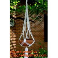 Buy cheap Wholesale 4 Sets colorful Macrame Plant Hanger Indoor Outdoor Hanging Planter Basket Cotton Rope 4 Legs 40 Inch--Pink from wholesalers