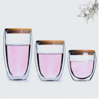 Buy cheap Fashion concise design Bamboo lid 450 ml double wall glass cup from wholesalers