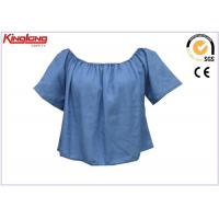 Buy cheap Short Sleeve Cooling Summer Wear Blue Denim Shirt For Womens , Jean Cloth from wholesalers