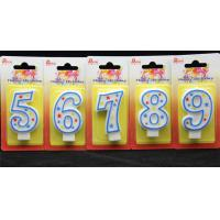 Buy cheap 100%Hand painting Birthday Candle with blue line and 3 colors star printed product