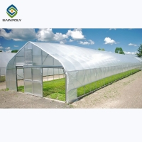 Buy cheap Galvanized Steel Single Span PE Film Greenhouses For Agriculture from wholesalers