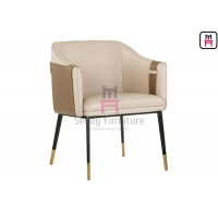 Buy cheap Solid Wood Leg Leather Upholstered Arm Dining Chair from wholesalers