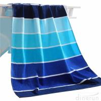 Buy cheap 100% Cotton Soft Beach Towel Pool Towel Gradient Blue Striped Towel Bath Towel from wholesalers