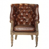 Buy cheap Button Wingback Chair Antique Leather Armchairs With Deconstructed Wheels from wholesalers