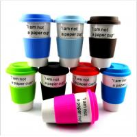Buy cheap Ceramic porcelain mugs with silicone sleeve rubber lid 350ml 400ml 450ml from wholesalers