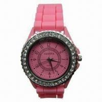 Buy cheap Pink Geneva Bezel Watch for Gift, with Silicone Band, Crystal Stone and Japan Quartz Movement from wholesalers
