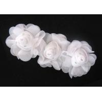 Buy cheap 16cm White Handmade Fabric Flower Corsage With Rhinestone Ornament 120D Chiffon Garment Trimmings from wholesalers
