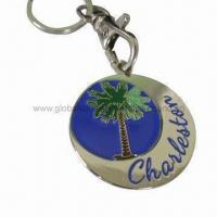 Buy cheap Round metal souvenir keychain, measures 40mm from wholesalers