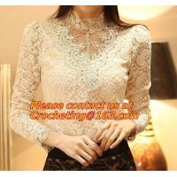 Buy cheap Women Blouse Shirts Casual Hollow Crochet Shawl Collar Blusas Femininas Plus Size Lace Top from wholesalers