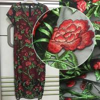 Buy cheap 3D Rose Flower Embroidered Mesh Wedding Lace Fabric By The Yard For Women Dress from wholesalers
