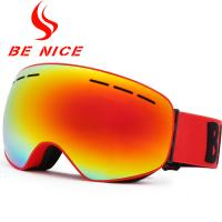 Anti Glare Red Ladies Mirrored Ski Goggles Uv Protection With TPU Frame