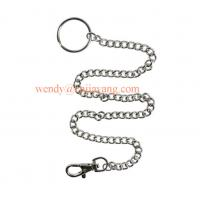 Buy cheap jiayang high shiny nickle color metal link chain with key ring and snap hook from wholesalers