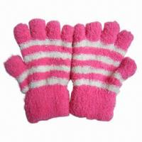 Buy cheap Feather Yarn Knitted Gloves, Made of Polyester/Spandex from wholesalers
