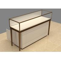 Buy cheap Easy Install Custom Glass Display Cases Beige Wooden Stainless Steel Frame from wholesalers