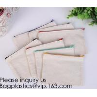 Buy cheap Office Stationery custom logo printed plain Cotton Canvas pencil case bag with zipper,stationery bag paper holder file h from wholesalers