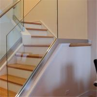 Buy cheap Indoor stair railing system aluminum U channel tempered glass railing with removable handrail from wholesalers