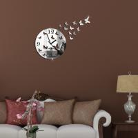 Buy cheap Butterfly 3D Wall Clock Mirror Clock Home Decoration Metal Quartz DIY Mirror Wall Clock from wholesalers