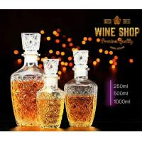 Buy cheap 250ml 500ml Whiskey Glass Bottle Wine Container With Glass Lid Square Shape from wholesalers