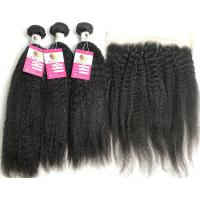 China 13x4 Lace Frontal Kinky Straight 10A Grade Remy Hair Peruvian Human Hair Weave on sale