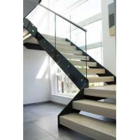 Buy cheap Modern Straight Staircase Design With Glass Railing and Wood Tread from wholesalers