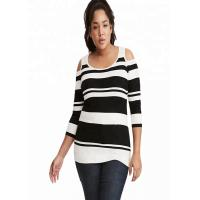 Buy cheap Drop Shoulder Oversized Knit Sweaters Stripe Knitted Polyester / Cotton Material from wholesalers