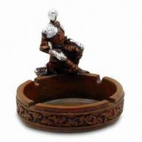 Buy cheap Stylish Polyresin Ashtray with Hand-painted and Plating Finish, OEM Orders are Welcome from wholesalers