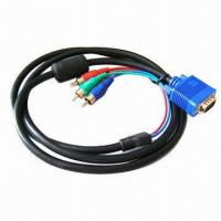 Buy cheap 1.5m VGA to 3 RCA Cable, Can Connect VGA Output Device to High-definition Analog Video Applications from wholesalers