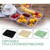 Buy cheap Disposable corn starch plates biodegradable corn starch food container, Disposable PLA Serving Divided Lunch Tray from wholesalers