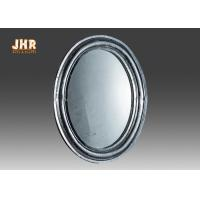 Oval Industrial Style Fiberglass Furniture Silver Mosaic Glass Framed Wall Mirror
