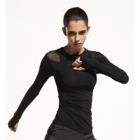 Buy cheap Fast Dry Fit Womens Long Sleeve Sports Top Black Color Machine Wash Without Shrink from wholesalers