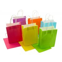 Buy cheap Neon Colored Blank Paper Packaging Bags Rainbow Assortment with String Handles product