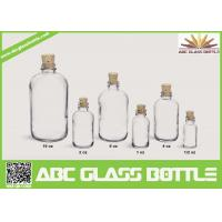 Buy cheap 1/2oz 1oz 2oz 4oz 8oz 16oz Hot sale clear or frosted boston round glass bottle with Cork cap product