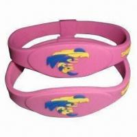 Buy cheap Silicone Bracelet with Anion Energy, Sports, Comes in Pink Color, OEM Orders are Welcome product
