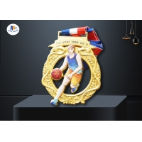 Buy cheap Stock Basketball Cut Out  Medals Imitation Gold Plating And Colorful Printing Relief Medailles With Ribbon from wholesalers